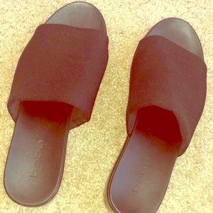 BEBE Platform Sandal Slide Wide Black Fabric Mule